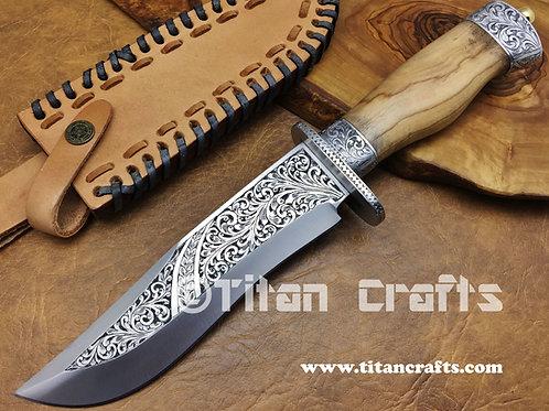 XL Hand Engraved D2 Knife 2413