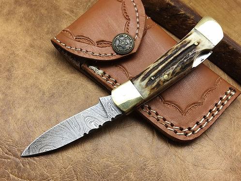 Damascus Mini Folding Knife-577