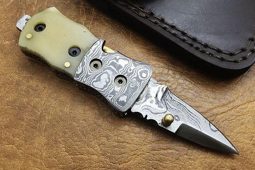Damascus Small Folding Knife 8323
