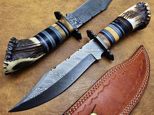 XXL Damascus Hunting Deer Stag Bowie 9597