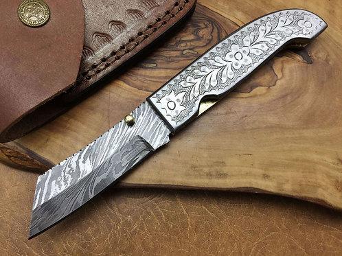 Damascus Folding Knife-F7-ENG