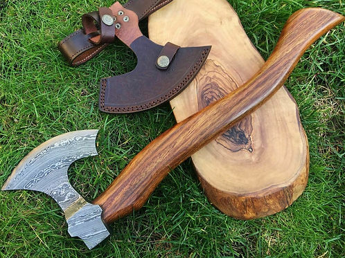 Handmade Damascus Steel Axe Hunting Camping Crafts Collectible 37cm XL2