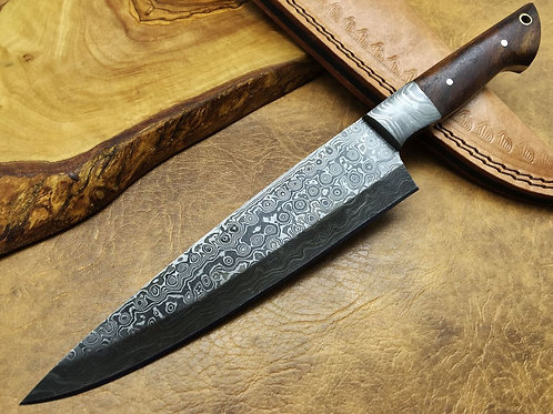 Damascus Kitchen Knife Wood-1834W