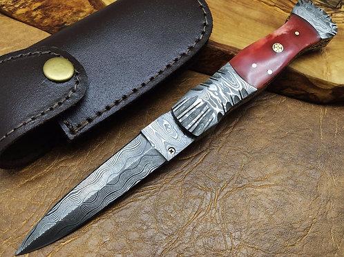 Damascus Folding Dagger Knife-FDW