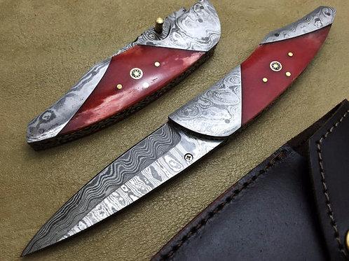 Titan's Damascus Folding Knife- 6006