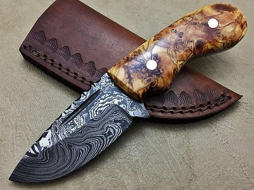 Damascus Steel Hunting Knife Burl Wood -7684