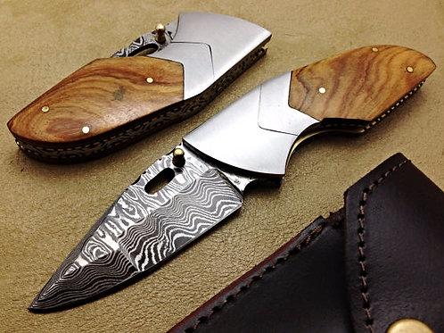 Titan's Damascus Folding Knife- 5977