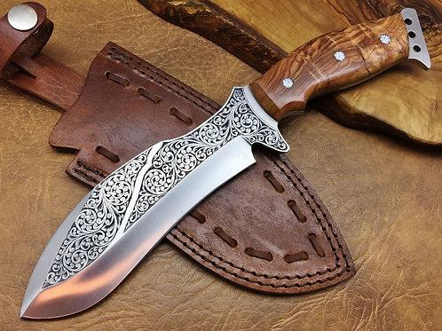 XL Hand Engraved D2 Knife 582