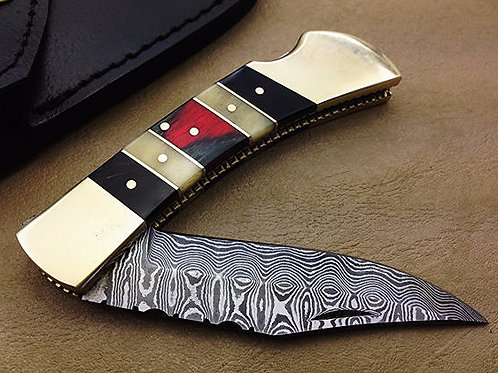Damascus Folding Knife-4344