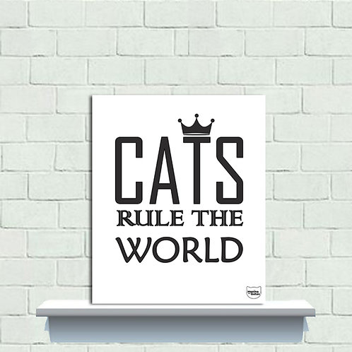 PLAQUINHA - Gatos Rule The World
