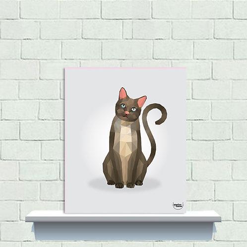 PLAQUINHA - Gato Poligonal