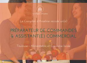 Le Comptoir d'Anselme recrute un préparateur de commandes & assistant commercial