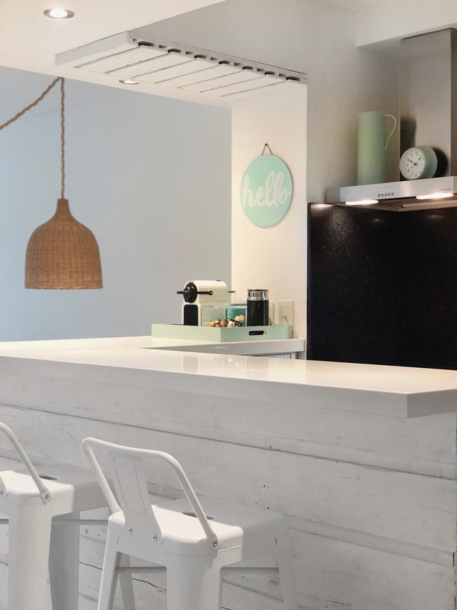 Mint & white kitchen