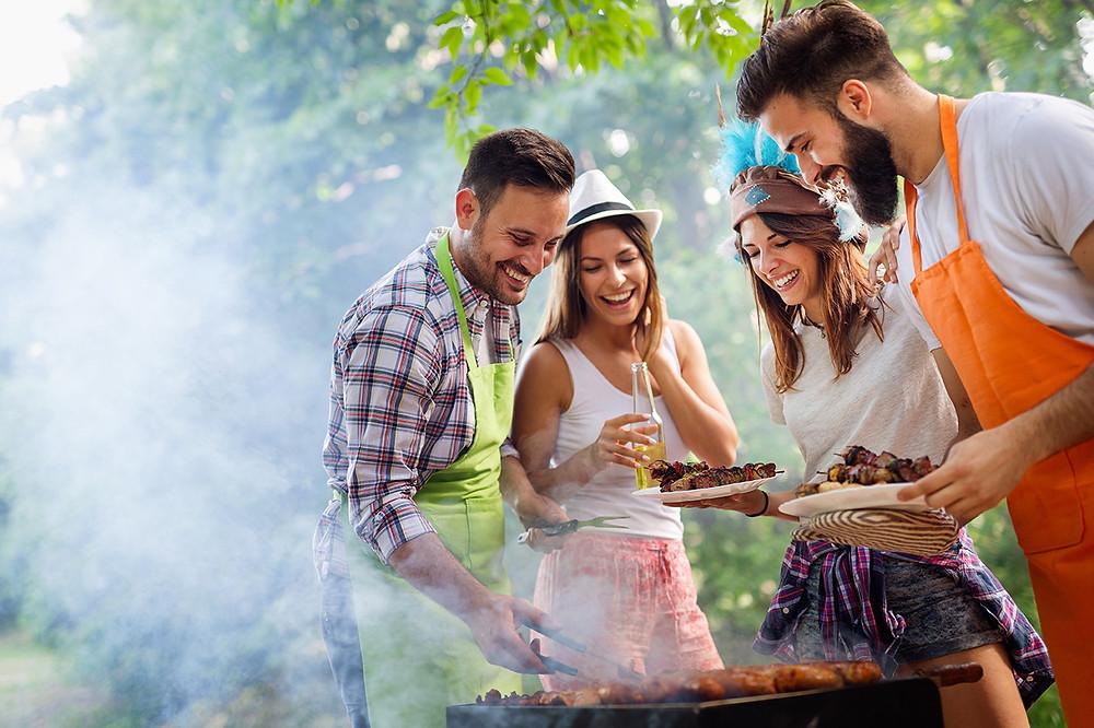 Grillades, apéritifs, été, barbecue, amis