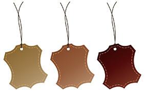 étiquettes de cuir, cuir marron, vinaigre blanc
