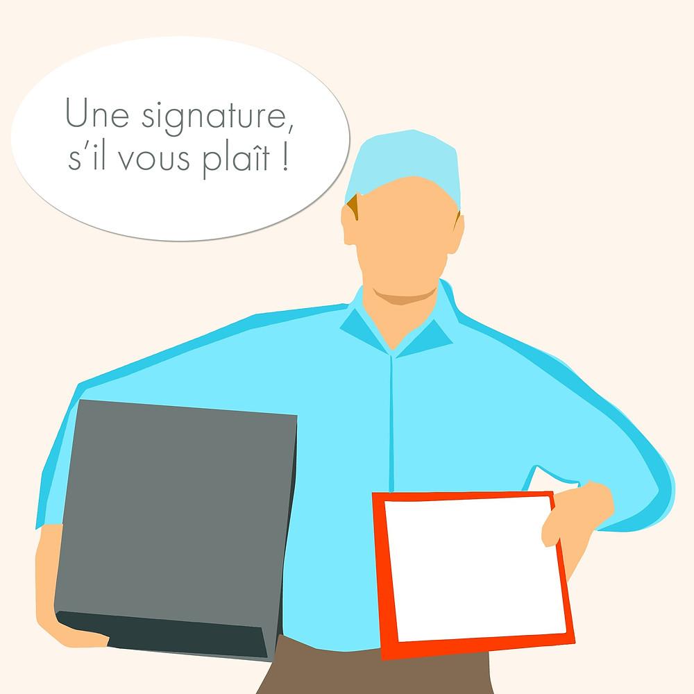 Livreur, documents de livraison, signature client