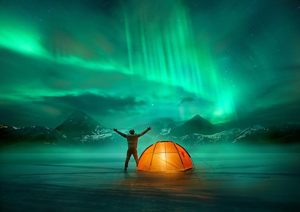 Camping, camping-car, tente, voyages, vacances, hiver, aurores boréales