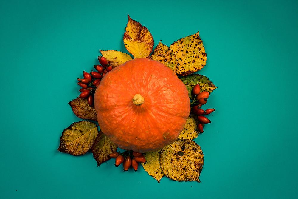 Légumes, orange, citrouille, feuilles