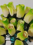 rose bud white w lime green