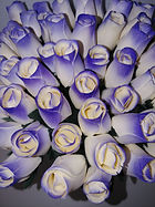 rose bud white w purple