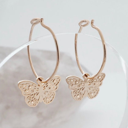Rose Gold Butterfly Hoops