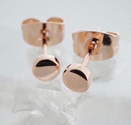 Rose Gold Circle Stud Earrings