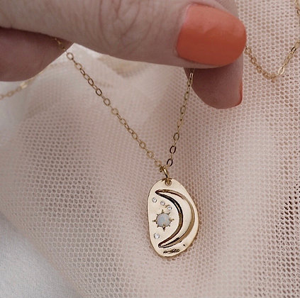 Over The Moon Opal Moon Necklace