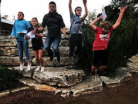 kids jumping, Marketplatz, downtown Fredericksburg, park