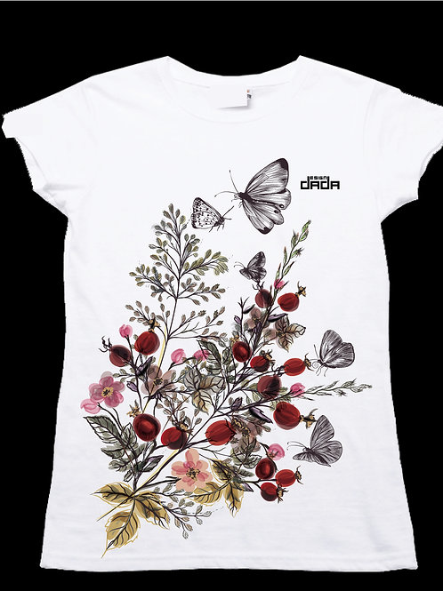 "T-shirt woman ""Butterflies and flowers"""