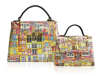Kelly bag, colorful architectures, architetture surreali, printed fabrics, art bag