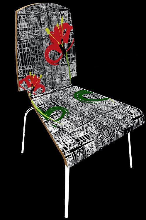 """Personalized chair """" Flowers and architectures"""""""