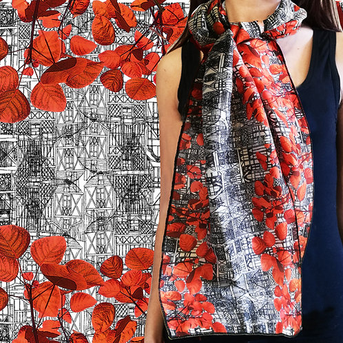 "Foulard ""Leaves and architectures"""