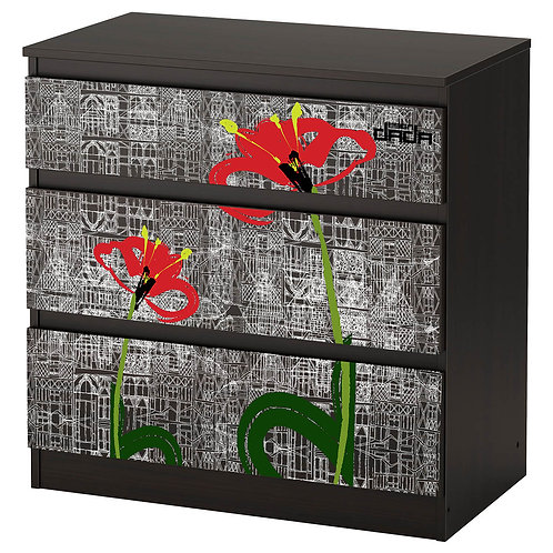 """Personalized drawers """"Flowers and architectures"""""""