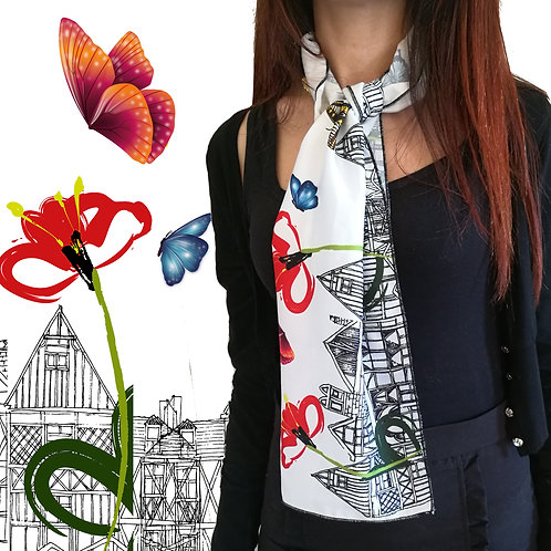 """Foulard """"Butterflies and architectures"""""""