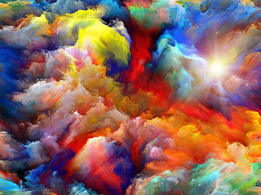 Rainbow coloured paints