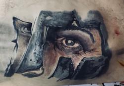 tattoo realistico viso centurione