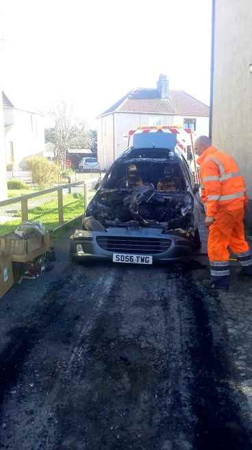 Recovery truck driver said the car looks like it was targeted by a petrol bomb.