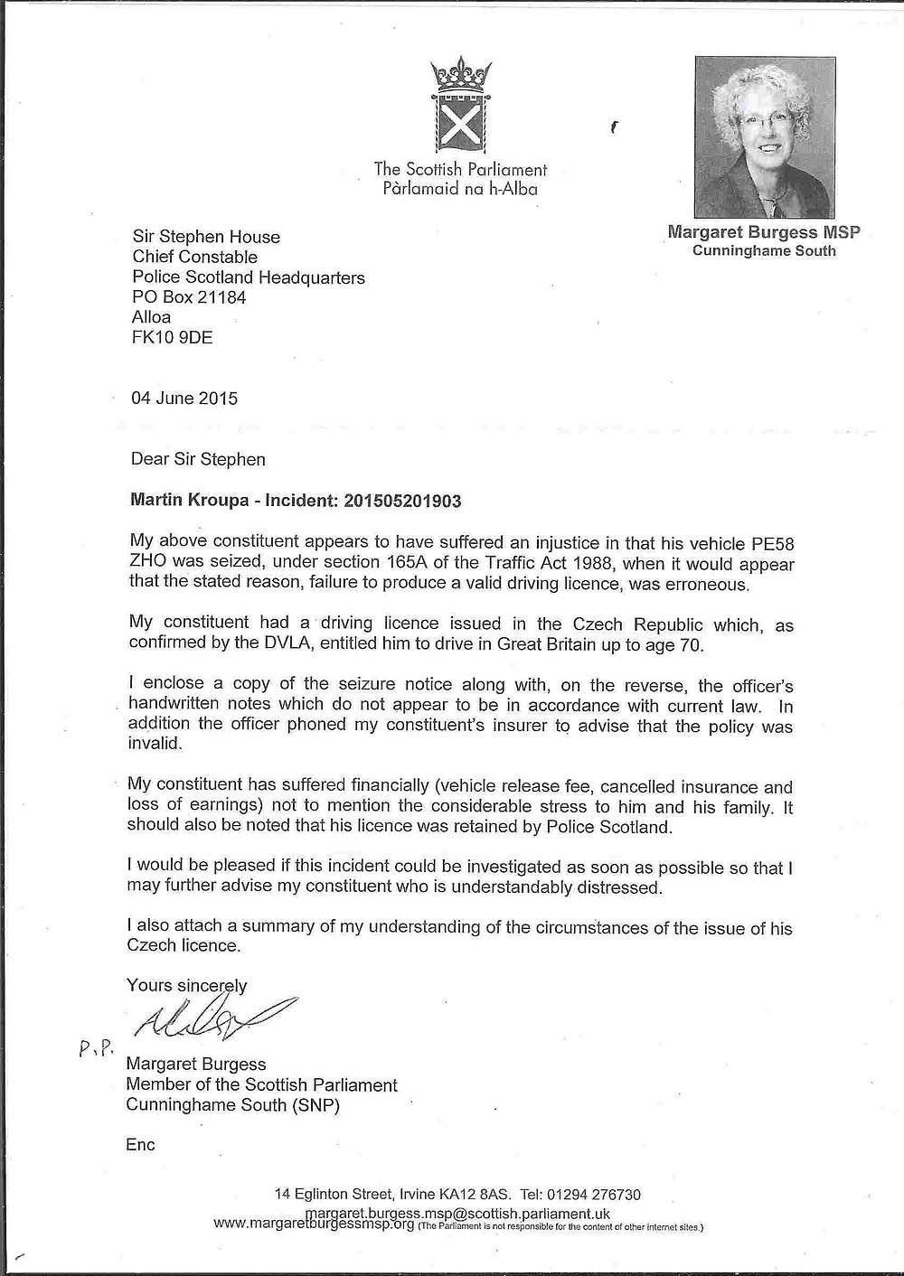 Complaint about police by SNP Margaret Burgess MSP on behalf of Martin Kroupa