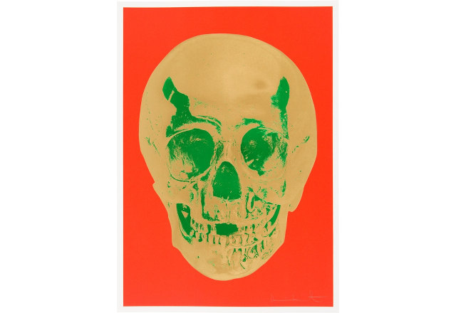 SCAS Damien Hirst - Skull Gold-Green on Orange