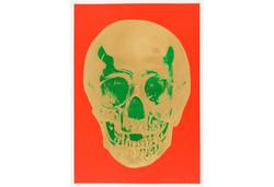SCAS Damien Hirst - Skull Gold-Green on Orange