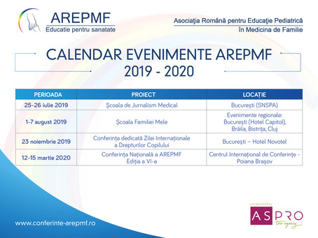 Calendarul evenimentelor AREPMF