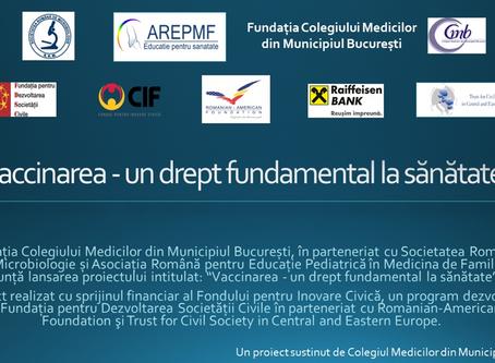 """Comunicat post-eveniment: """"Vaccinarea un drept fundamental la sănătate"""""""