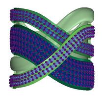 modelagem 3d de joias - anel com sobreposição de fios cravados