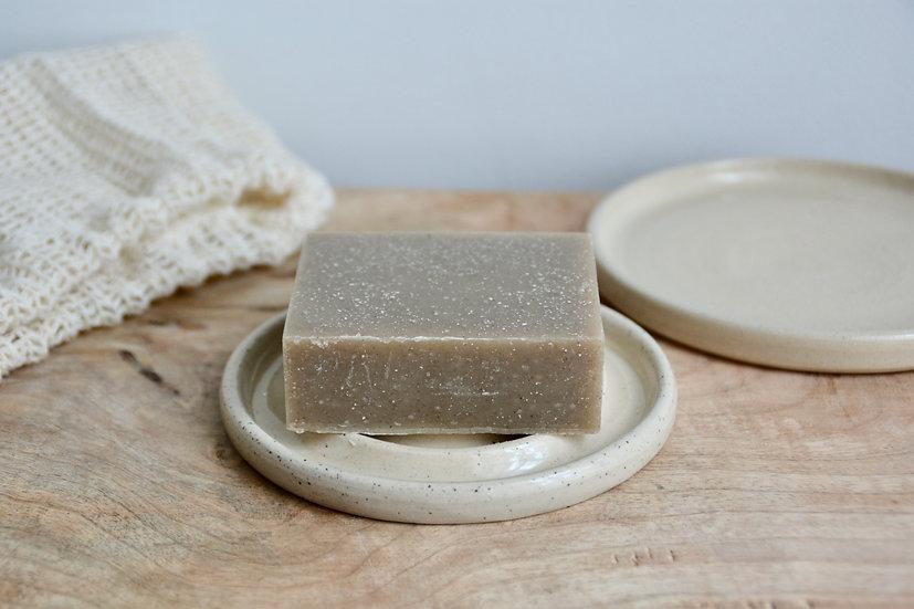 Porte savon grès blanc et grains de mica