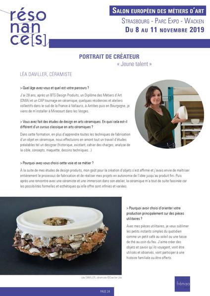 Portrait de créateur / Salon Résonances 2019