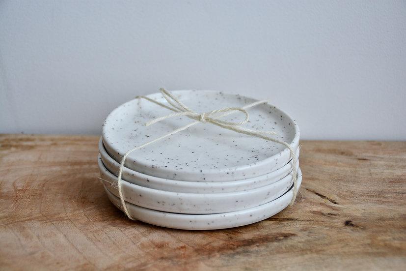 Lot de 4 coupelles avec rebords en porcelaine texturée de mica