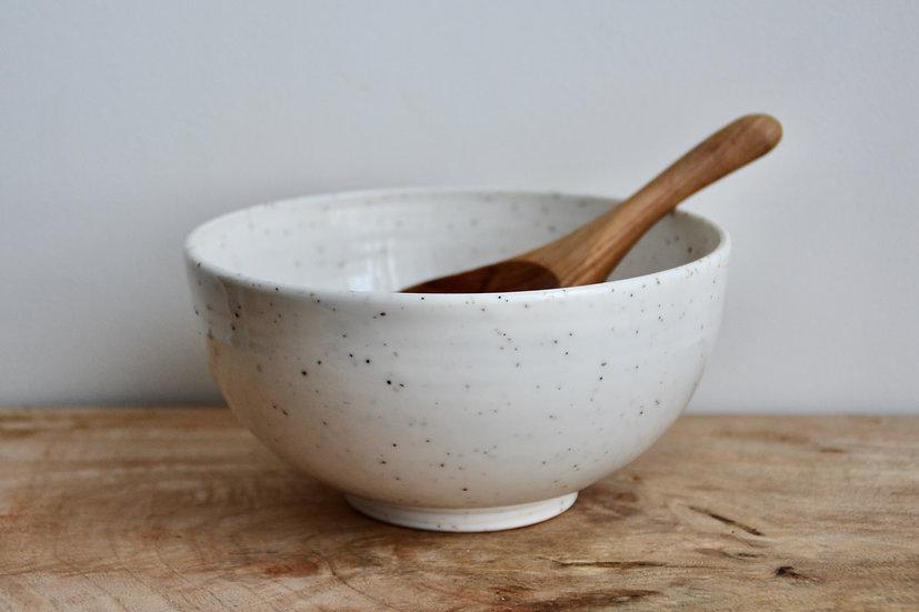 Petit saladier en porcelaine blanche et texturée de mica