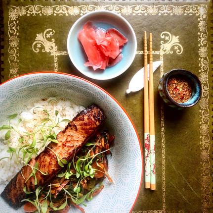 Teriyaki salmon, miso glazed vegetables, steamed rice, pickled ginger & sesame togarashi