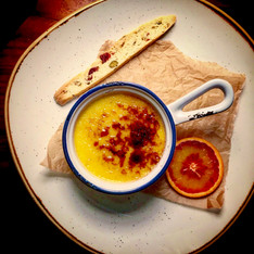 Blood orange creme brulee, pistachio, cranberry & fennel seed biscotti