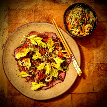 Asian rare-roast beef & glass noodle salad